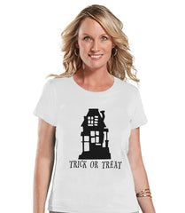 Women's Halloween Shirt - Trick or Treat Haunted House - Ladies Halloween Party Shirt - Adult Halloween Costumes - White Halloween Shirt
