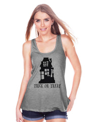 Women's Halloween Shirt - Trick or Treat Haunted House - Ladies Halloween Party Shirt - Adult Halloween Costumes - Grey Halloween Tank Top