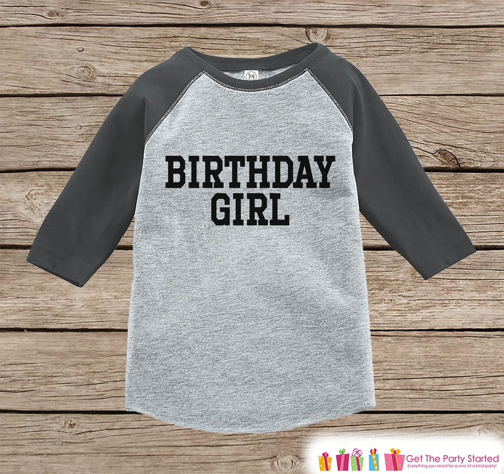 Girls Birthday Outfit - Birthday Girl Shirt or Onepiece - Youth, Toddler Birthday Outfit - Grey Baseball Tee - Kids Baseball Tee - Sporty