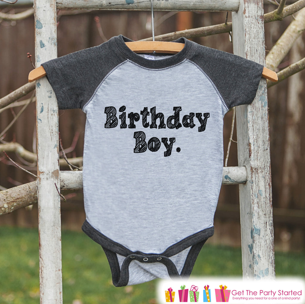 Boys Birthday Outfit - Birthday Boy Shirt or Onepiece - Youth, Toddler Birthday Outfit - Grey Baseball Tee - Kids Baseball Tee - Sketch