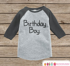 Boys Birthday Outfit - Birthday Boy Shirt or Onepiece - Youth, Toddler Birthday Outfit - Grey Baseball Tee - Kids Baseball Tee - Simple