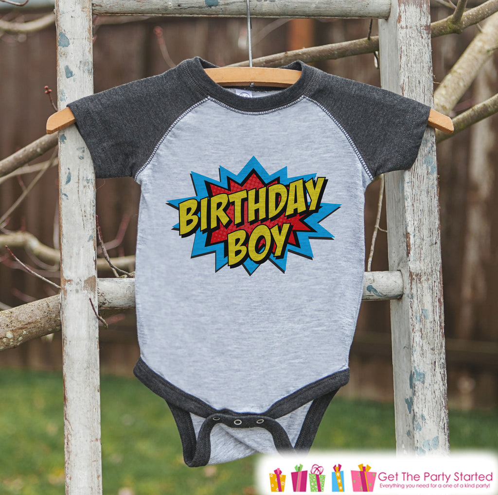 Boys Birthday Outfit - Superhero Birthday Boy Shirt or Onepiece - Youth, Toddler, Baby Birthday Outfit - Grey Raglan - Kids Baseball Tee 1