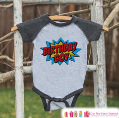 Boys Birthday Outfit - Superhero Birthday Boy Shirt or Onepiece - Youth, Toddler, Baby Birthday Outfit - Grey Raglan - Kids Baseball Tee 2