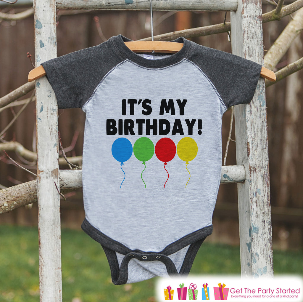 Kids Birthday Shirt - It's My Birthday Shirt or Onepiece - Boy or Girl, Youth, Toddler, Birthday Outfit - Grey Baseball Tee - Balloons