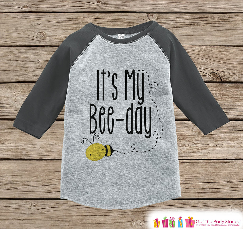 Kids Birthday Shirt - Bee It's My Bee-Day Shirt or Onepiece - Boy or Girl, Youth, Toddler, Birthday Outfit - Grey Baseball Tee