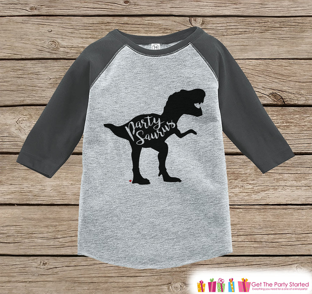 Dinosaur Birthday Shirt - Party Dino Partysaurus Shirt or Onepiece - Boy or Girl, Youth, Toddler, Birthday Outfit - Grey Baseball Tee -