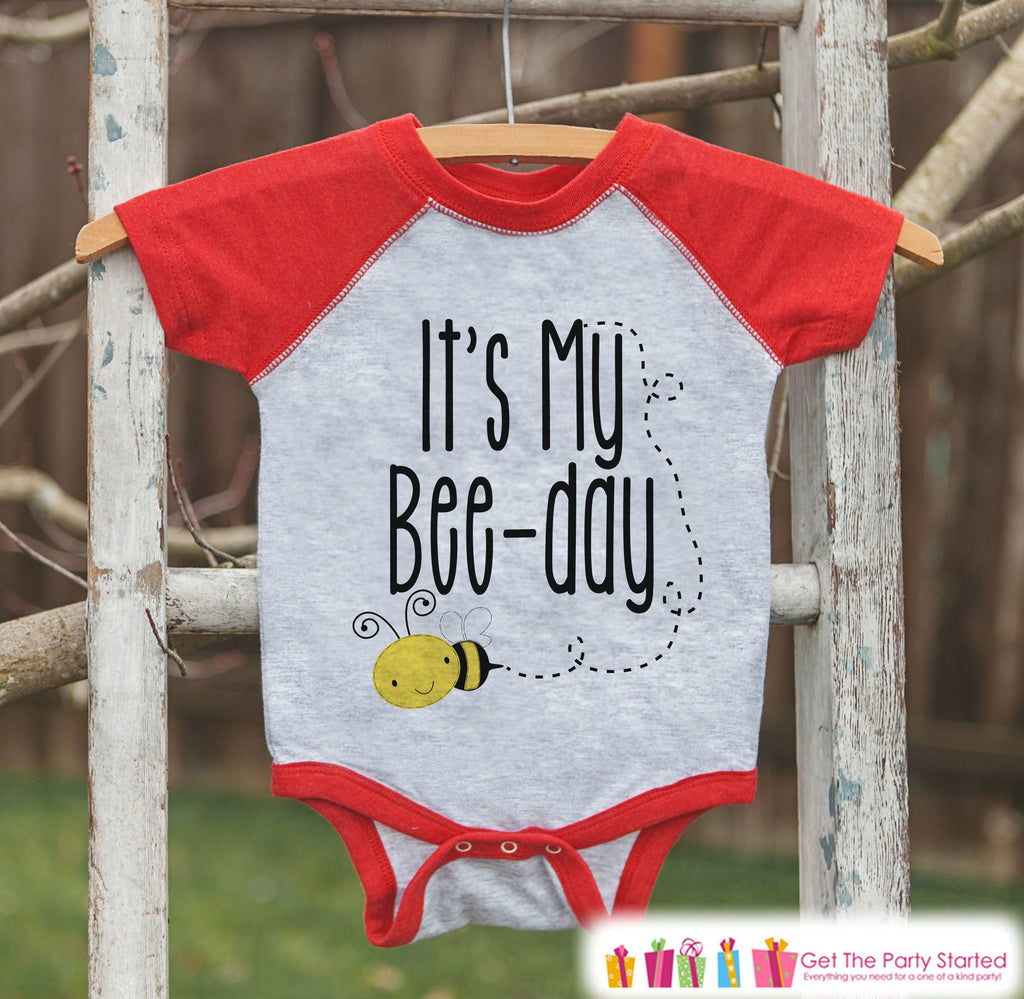 Kids Birthday Shirt - Bee It's My Bee-Day Shirt or Onepiece - Boy or Girl, Youth, Toddler, Birthday Outfit - Red Baseball Tee