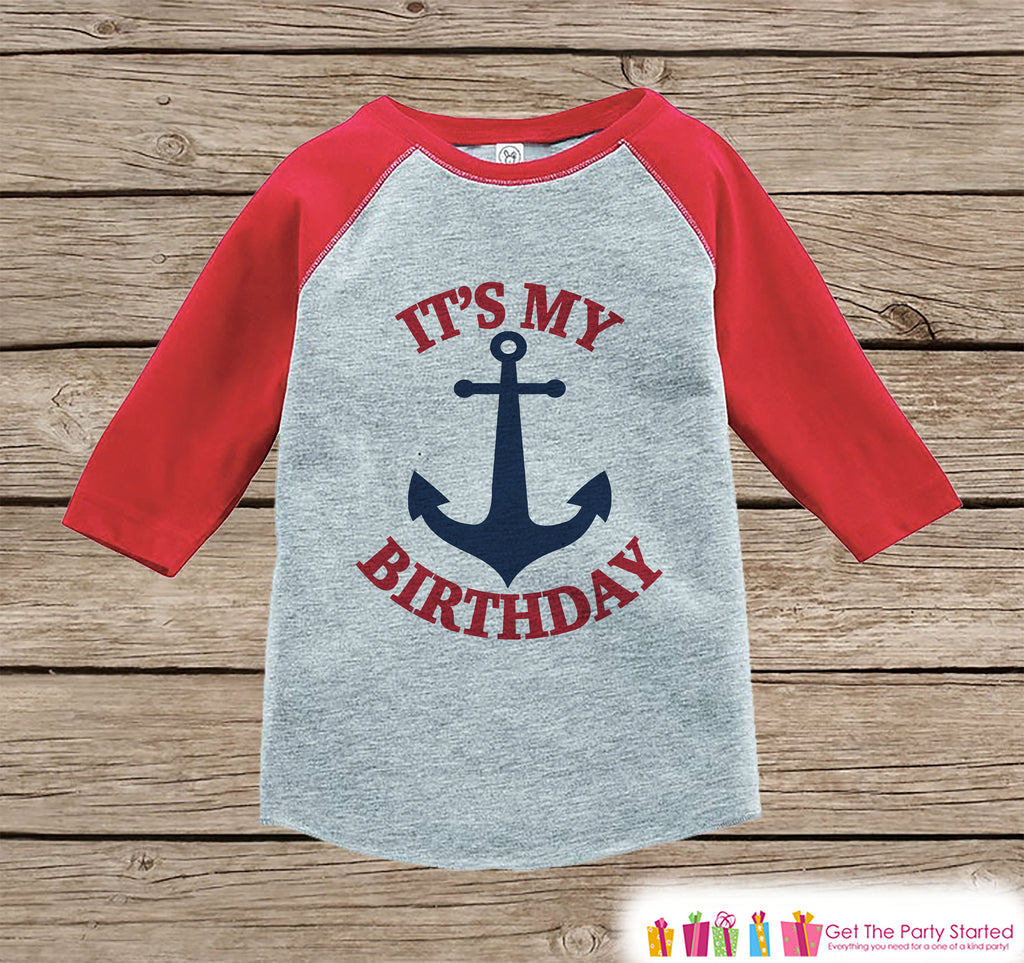 Kids Birthday Shirt - Nautical It's My Birthday Shirt or Onepiece - Boy or Girl, Youth, Toddler, Birthday Outfit - Red Baseball Tee