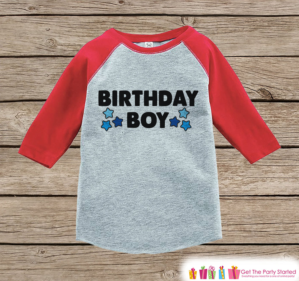 Boys Birthday Outfit - Birthday Boy Shirt or Onepiece - Youth, Toddler, Baby Birthday Outfit - Red Baseball Tee - Kids Baseball Tee - Stars