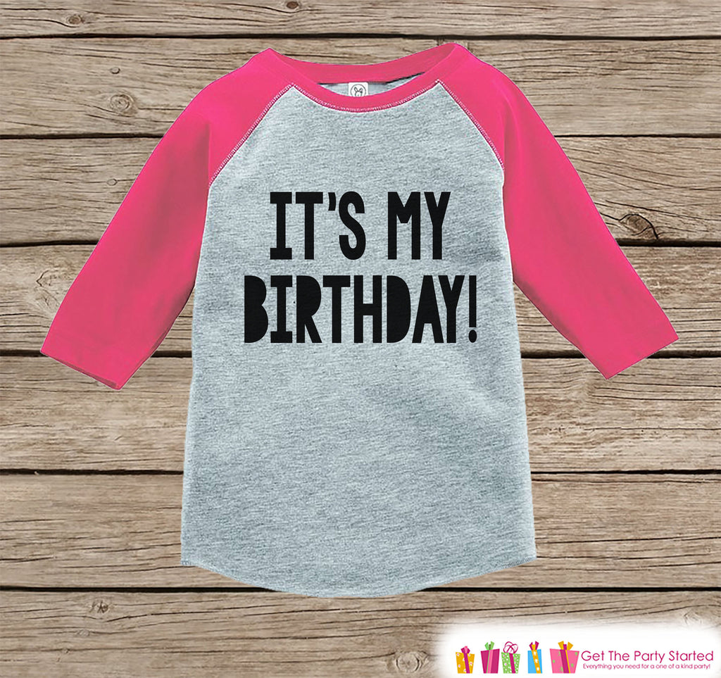 Kids Birthday Shirt - It's My Birthday Shirt or Onepiece - Baby Girl, Youth, Toddler, Birthday Party Outfit - Pink Baseball Tee - Bold