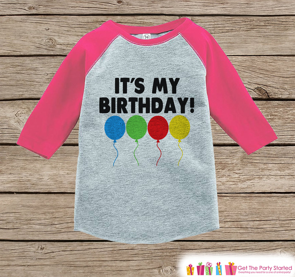 Kids Birthday Shirt - It's My Birthday Shirt or Onepiece - Baby Girl, Youth, Toddler, Birthday Outfit - Pink Baseball Tee - Balloons