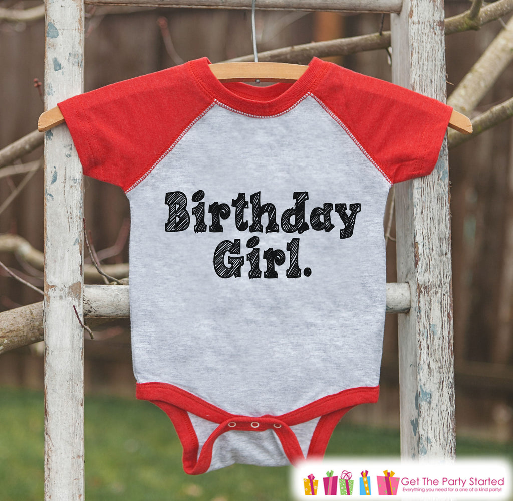 Girls Birthday Outfit - Birthday Girl Shirt or Onepiece - Youth, Toddler Birthday Outfit - Red Baseball Tee - Kids Baseball Tee - Sketch