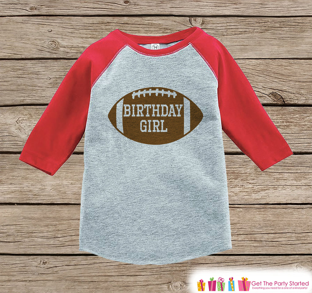 Girls Birthday Outfit - Football Birthday Girl Shirt or Onepiece - Birthday Girl Football Outfit - Red Baseball Tee - Kids Raglan Shirt