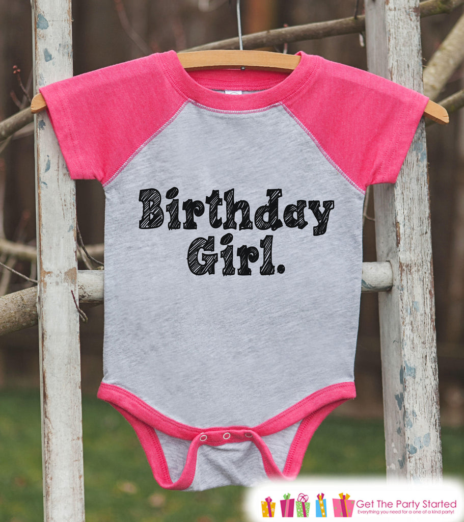 Girls Birthday Outfit - Birthday Girl Shirt or Onepiece - Youth, Toddler Birthday Outfit - Pink Baseball Tee - Kids Baseball Tee - Sketch