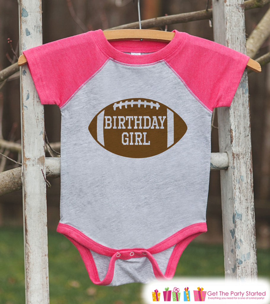 Girls Birthday Outfit - Football Birthday Girl Shirt or Onepiece - Birthday Girl Football Outfit - Pink Baseball Tee - Kids Raglan Shirt