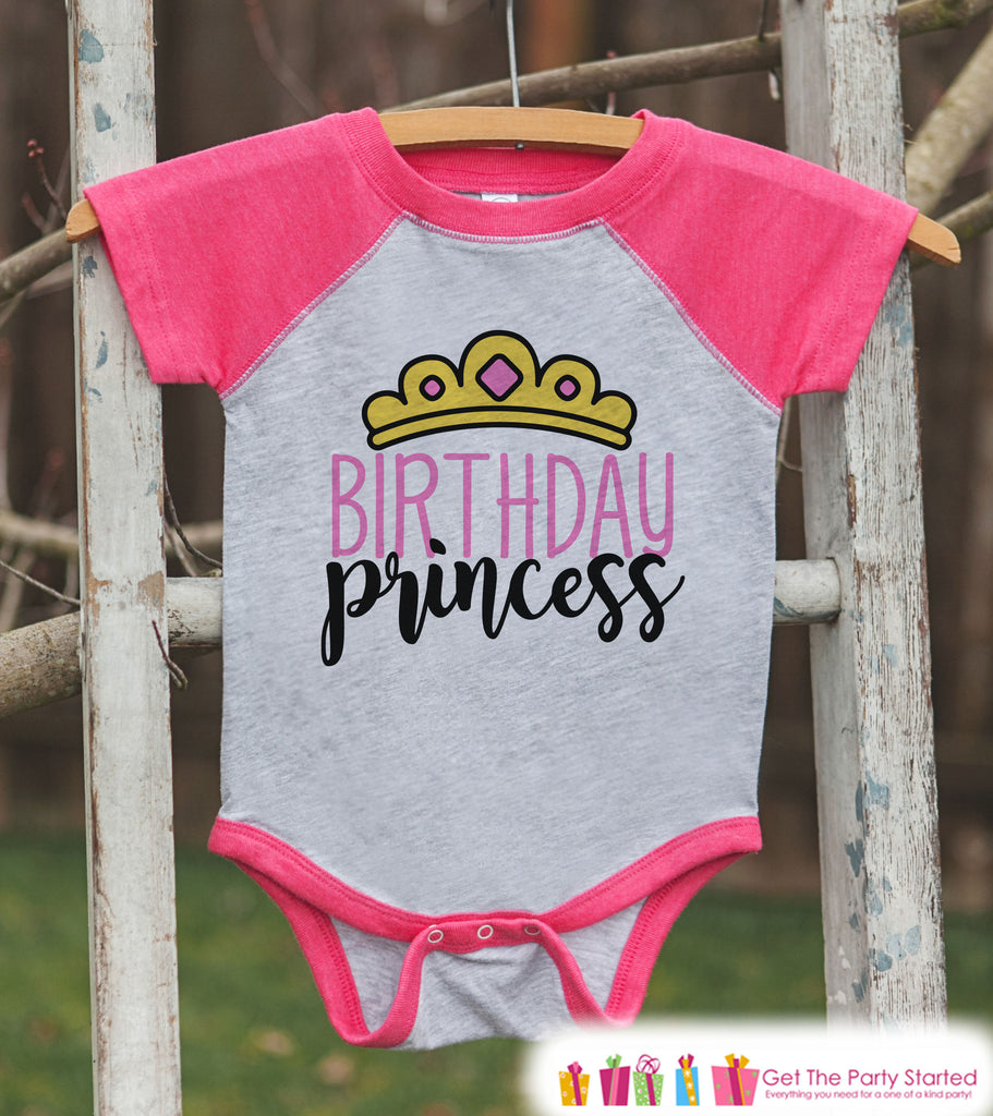 Girls Birthday Outfit - Princess Birthday Girl Birthday Shirt or Onepiece - Birthday Princess Outfit - Pink Baseball Tee - Kids Raglan Shirt