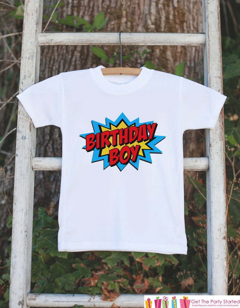 Kids Birthday Shirt - Superhero Birthday Boy Shirt - Birthday Shirts for Boys - Boy Happy Birthday Shirt or Onepiece - Birthday Boy Outfit 1