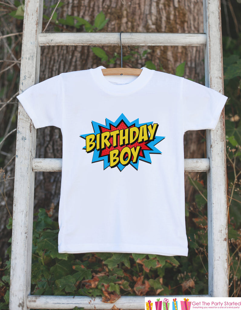 Kids Birthday Shirt - Superhero Birthday Boy Shirt - Birthday Shirts for Boys - Boy Happy Birthday Shirt or Onepiece - Birthday Boy Outfit 2