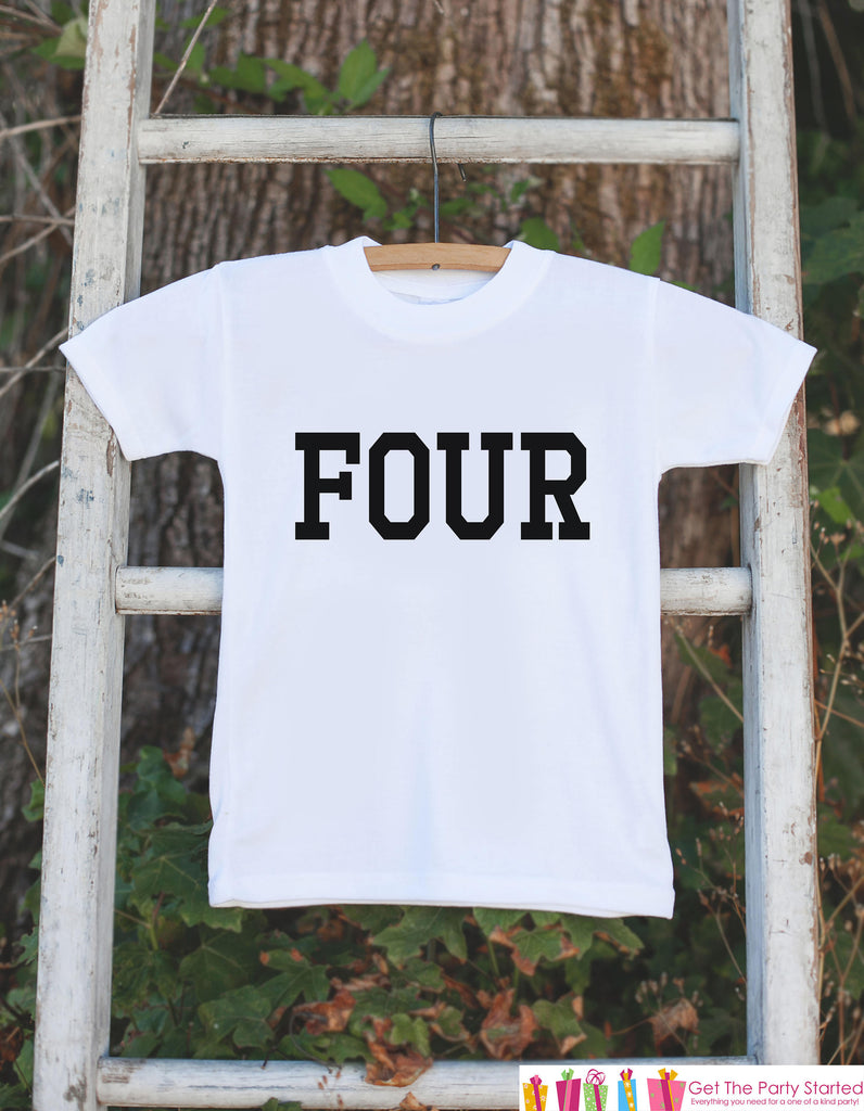Four Birthday Shirt - Kid's 4th Birthday Tshirt For Boys Birthday Party - Boys Fourth Birthday Outfit - 4 Year Old Birthday Party - Sporty