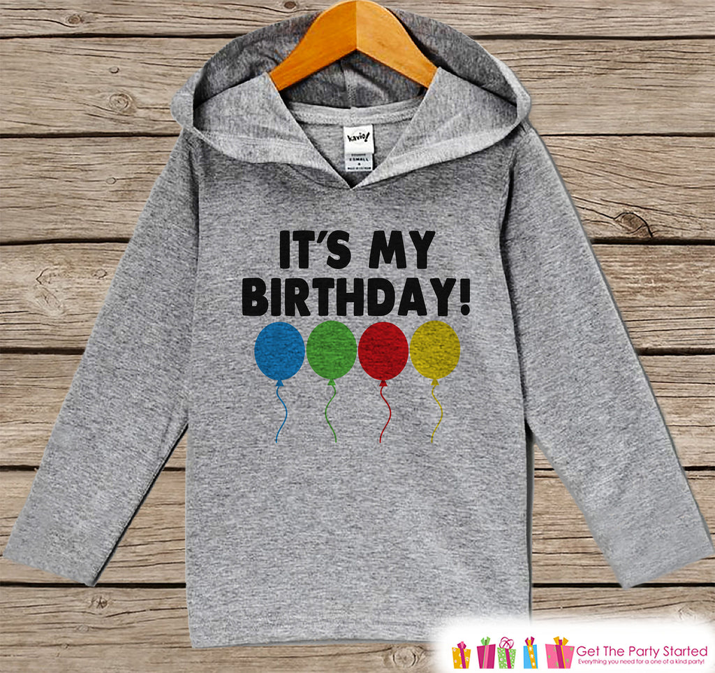 Kids Birthday Shirt - Balloons Birthday Hoodie - Birthday Pullover - Happy Birthday - Boys or Girls Hoodie - It's My Birthday - Grey Hoodie