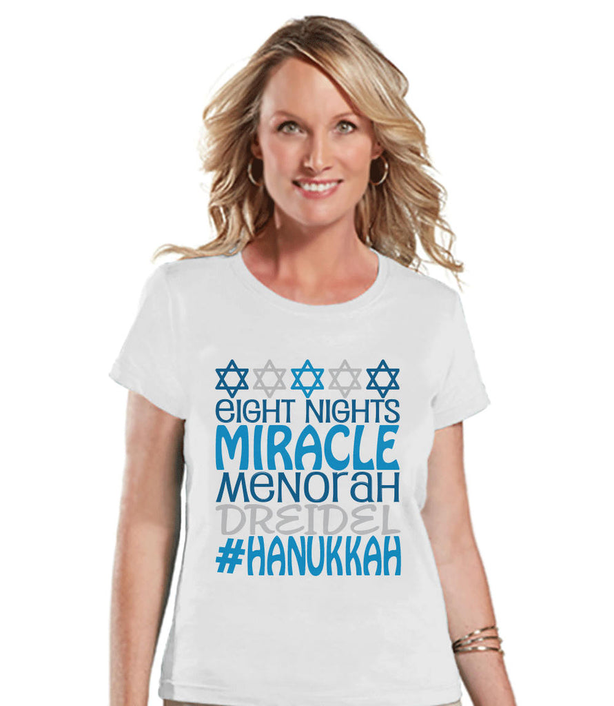 Women's Hanukkah Shirt - #Hanukkah White T-shirt - Ladies Happy Hanukkah Outfit - Hanukkah Gift Idea - Family Holiday Shirts - Jewish Shirts