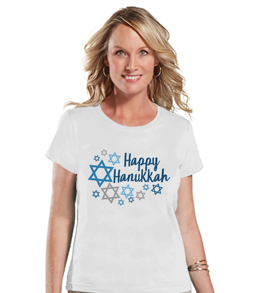 Happy Hanukkah Shirt - Ladies Hanukkah White T-shirt - Happy Hanukkah Outfit - Hanukkah Gift Idea - Family Holiday Shirts