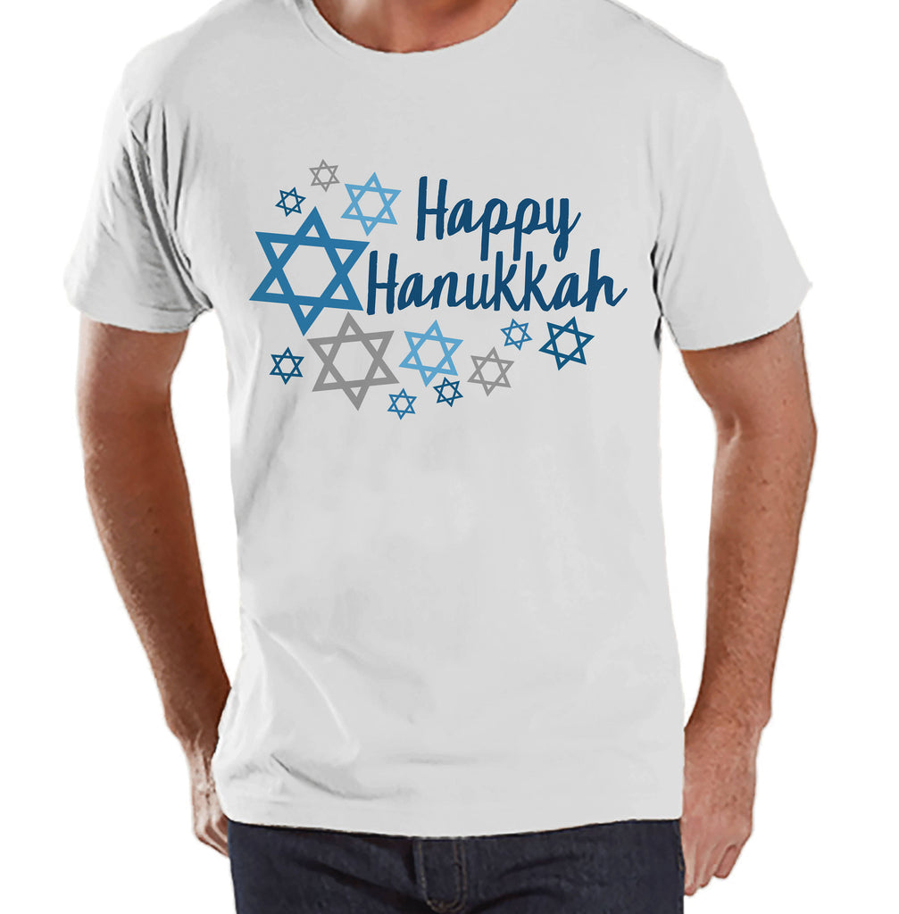 Happy Hanukkah Shirt - Men's Hanukkah White T-shirt - Mens Happy Hanukkah Outfit - Hanukkah Gift Idea - Family Holiday Shirts
