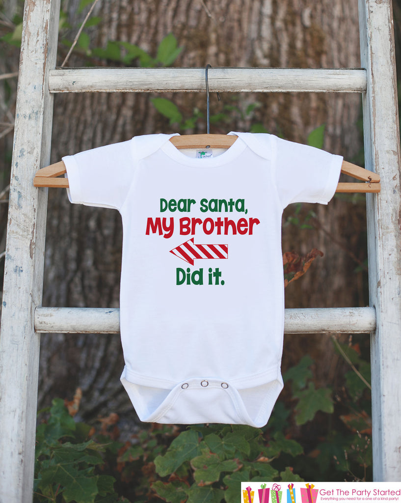 Kids Funny Christmas Shirts - Santa, My Brother Did It - Boy or Girl Christmas Onepiece or Shirt - Christmas Pajamas - Sibling Shirts - Left