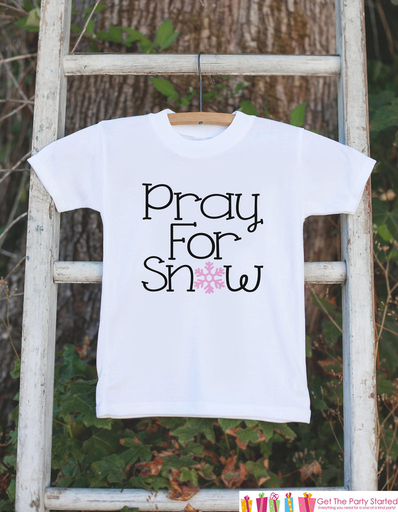 Girls Winter Shirt - Pray for Snow Onepiece or T-shirt - Baby Girls Pink Snowflake Outfit - Baby, Toddler, Youth - Sibling Shirts