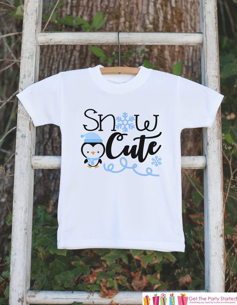 Kids Penguin Shirt - Blue Snow Cute Onepiece or T-shirt - Boy or Girls Snow Cutie Outfit - Baby, Toddler, Youth - Sibling Shirts