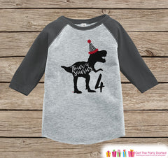 Dinosaur Birthday Shirt - Boys Fourth Birthday Dino Tshirt - Dino Four Birthday Shirt - Grey Raglan Dinosaur 4th Birthday Tee - Fourasaurus