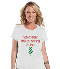 Christmas Pregnancy Announcement T-shirt - Funny Santa's Belly Pregnancy Announcement - Christmas Baby Reveal - Womens White T-shirt