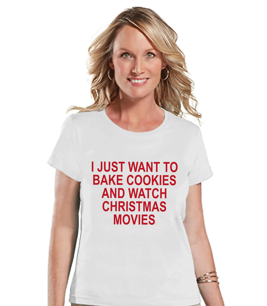 Women's Christmas Shirt - Bake Cookies Shirt - Mom Christmas Present Idea - Family Christmas Pajamas - White T-shirt - Christmas Gift Idea
