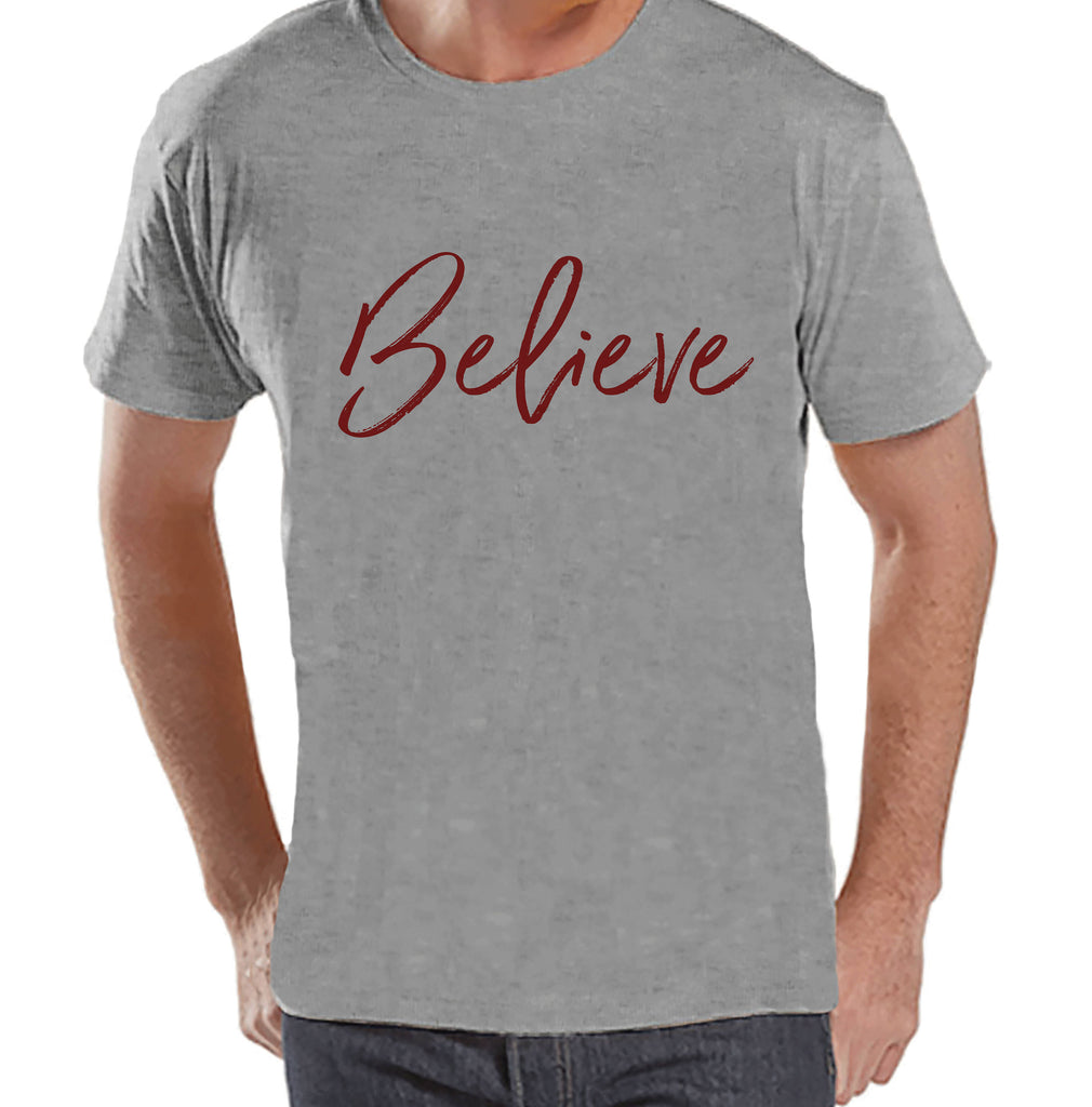 Men's Christmas Shirt - Religious Believe Shirt - Christmas Present Idea for Him - Family Christmas Pajamas - Grey T-shirt - Christmas Gift
