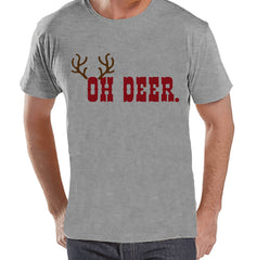 Men's Christmas Shirt - Oh Deer Shirt - Funny Christmas Present Idea for Him - Family Christmas Pajamas - Grey T-shirt - Christmas Gift