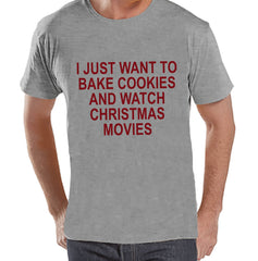 Men's Christmas Shirt - Christmas Cookies Shirt - Funny Gift for Him - Family Christmas Pajamas - Grey T-shirt - Christmas Gift Idea