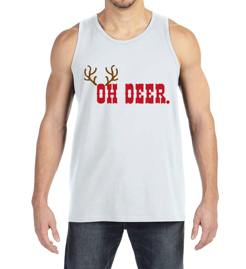 Men's Christmas Shirt - Oh Deer Shirt - Funny Christmas Present Idea for Him - Family Christmas Pajamas - White Tank Top - Christmas Gift
