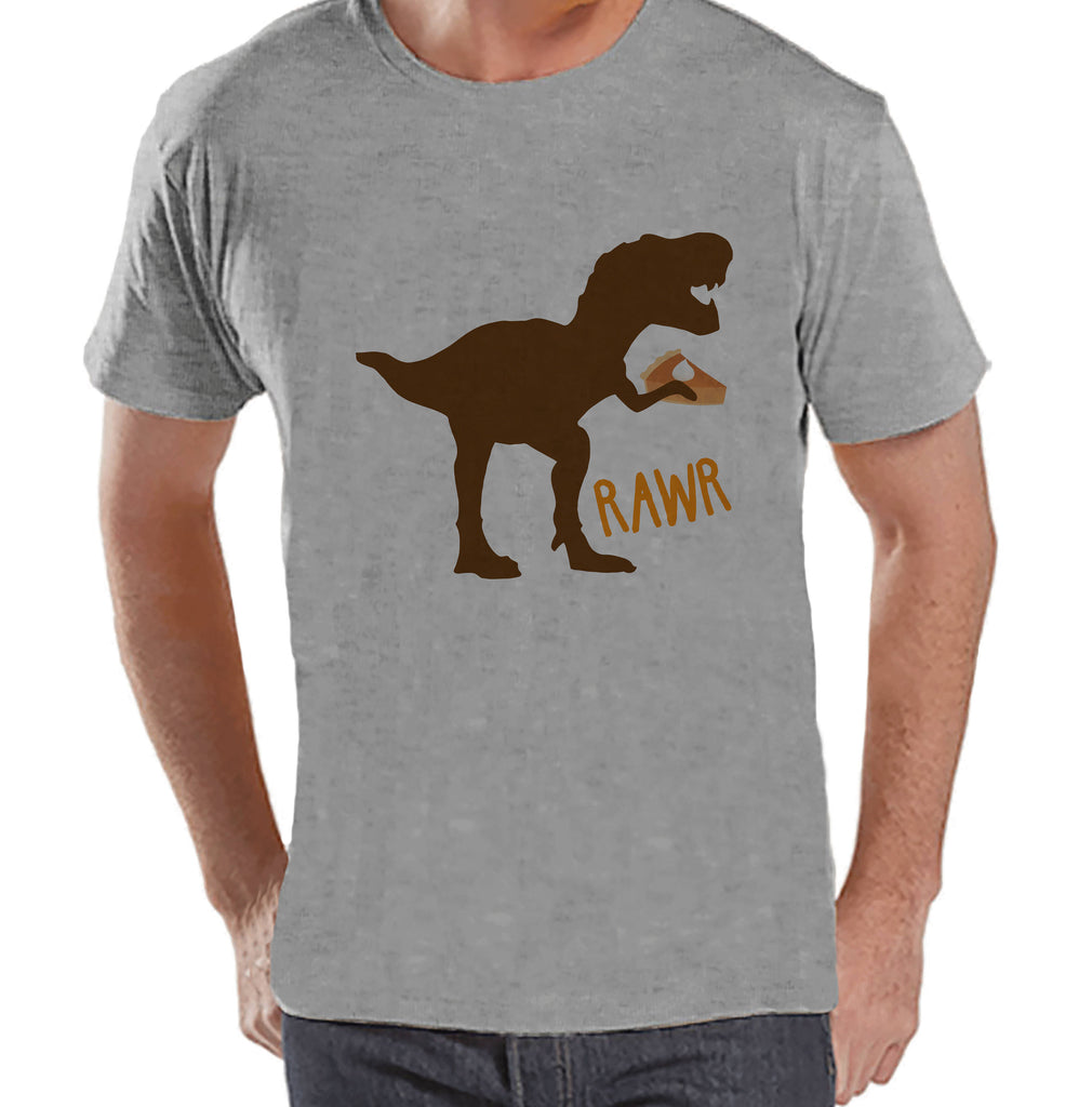 Funny Men's Thanksgiving Shirt - Dino Pumpkin Pie - Men's Thanksgiving Dinosaur Happy Thanksgiving Dinner - Mens Grey T-shirt - Fall Dino