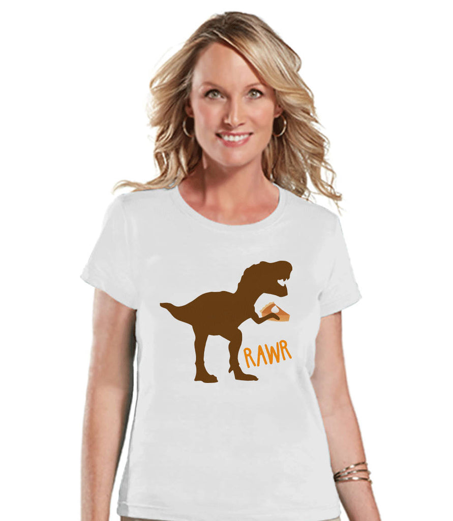Funny Women's Thanksgiving Shirt - Dino Pumpkin Pie - Ladies Thanksgiving Dinosaur Happy Thanksgiving Dinner - White T-shirt - Fall Dino