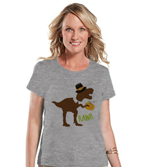 Funny Women's Thanksgiving Shirt - Dino Pilgrim - Funny Ladies Thanksgiving Dinosaur Happy Thanksgiving Dinner - Grey T-shirt - Fall Dino