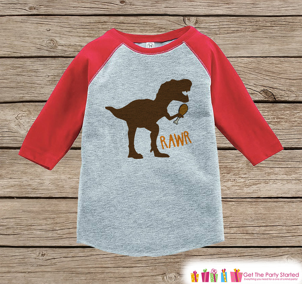 Kids Thanksgiving Shirt - Funny Turkey Leg Dinosaur Shirt - Red Raglan Tshirt or Onepiece - Funny Thanksgiving Dino - Kids Thanksgiving Tee