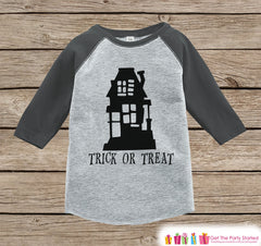 Kids Halloween Outfit - Kids Trick or Treat Shirt - Haunted House Halloween Grey Raglan Tshirt or Onepiece - Baby's 1st Halloween Costume
