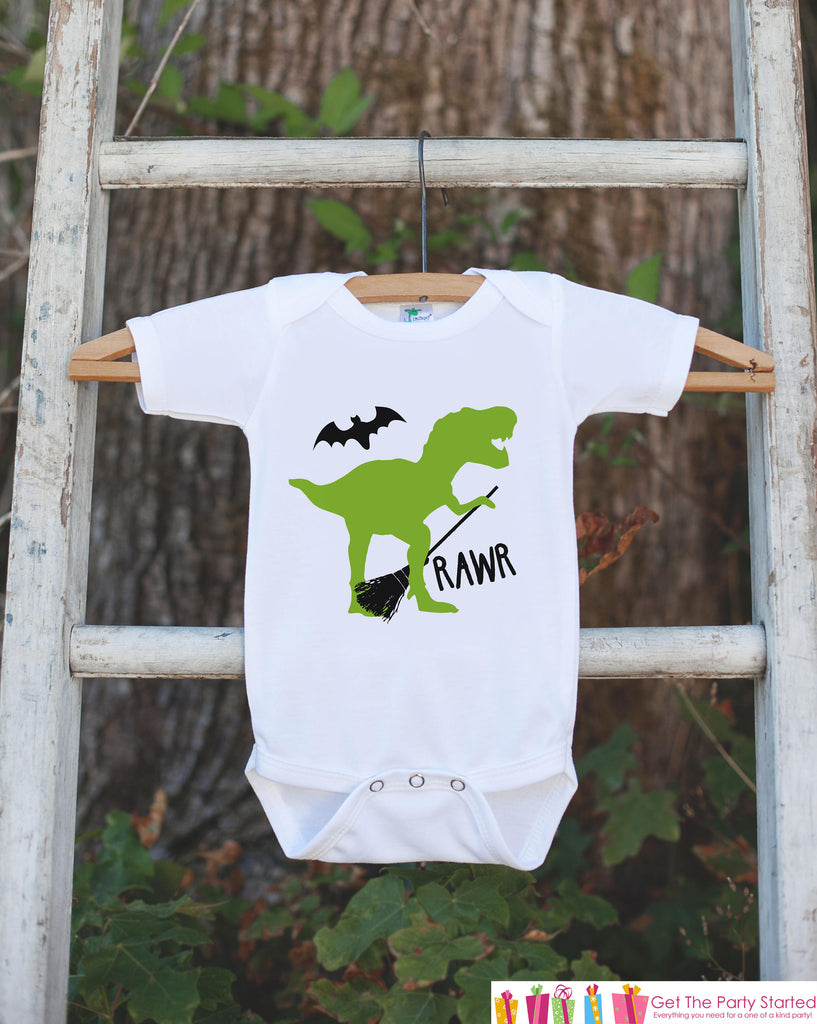 Boys Halloween Shirt - Witch Dinosaur Happy Halloween Onepiece or T-shirt - Funny Boy's Halloween Party Outfit - Kids Halloween Costume