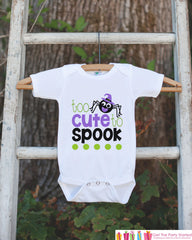Kids Halloween Shirt - Too Cute Shirt - Happy Halloween Tshirt or Onepiece - Baby Girl or Boy Halloween Outfit - Kids Halloween Costume
