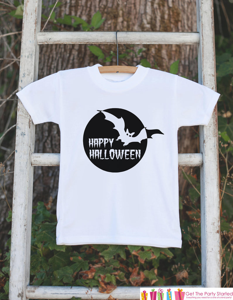 Kids Halloween Shirt - Happy Halloween Black Bat Tshirt or Onepiece - Baby Girl or Boy Halloween Party Outfit - Kids Halloween Costume