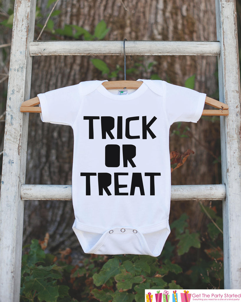 Kids Halloween Shirt - Happy Halloween Trick or Treat Tshirt or Onepiece - Baby Girl or Boy Halloween Party Outfit - Kids Halloween Costume