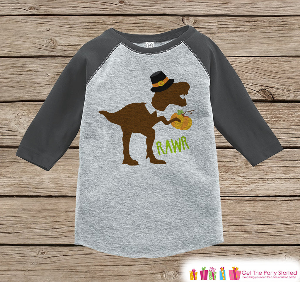 Kids Thanksgiving Shirt - Funny Pilgrim Dinosaur - Boys Grey Raglan Tshirt or Onepiece - Funny Thanksgiving Dino - Kids Thanksgiving T-shirt