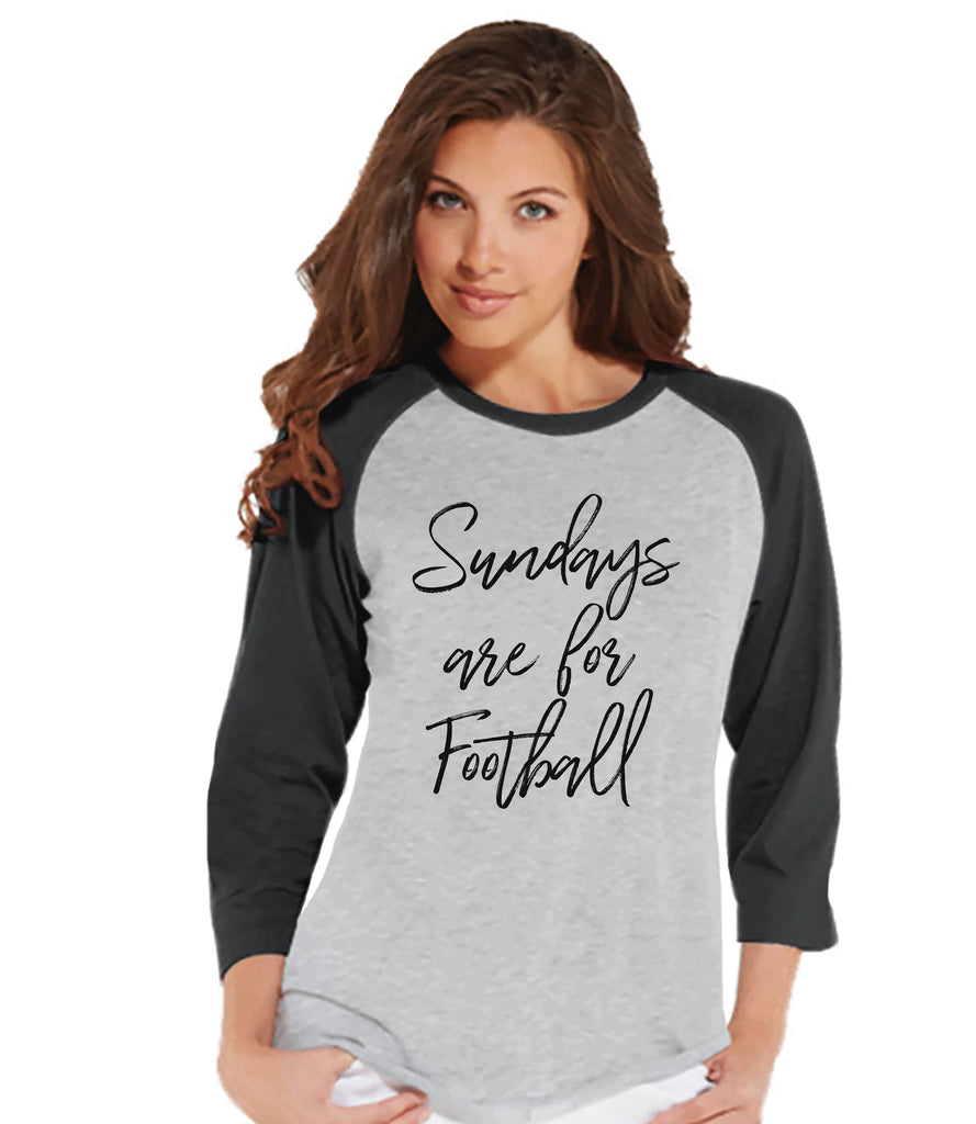 Women's Football Shirt - Sundays Are For Football - Football Shirt - Womens Grey Raglan - Sports Tshirts - Football Lover Gift - Script