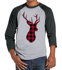 Plaid Deer Shirt - Men's Christmas Top - Men's Baseball Tee - Grey Raglan Shirt - Gift For Him - Rustic Winter Shirt - Holiday Gift Idea