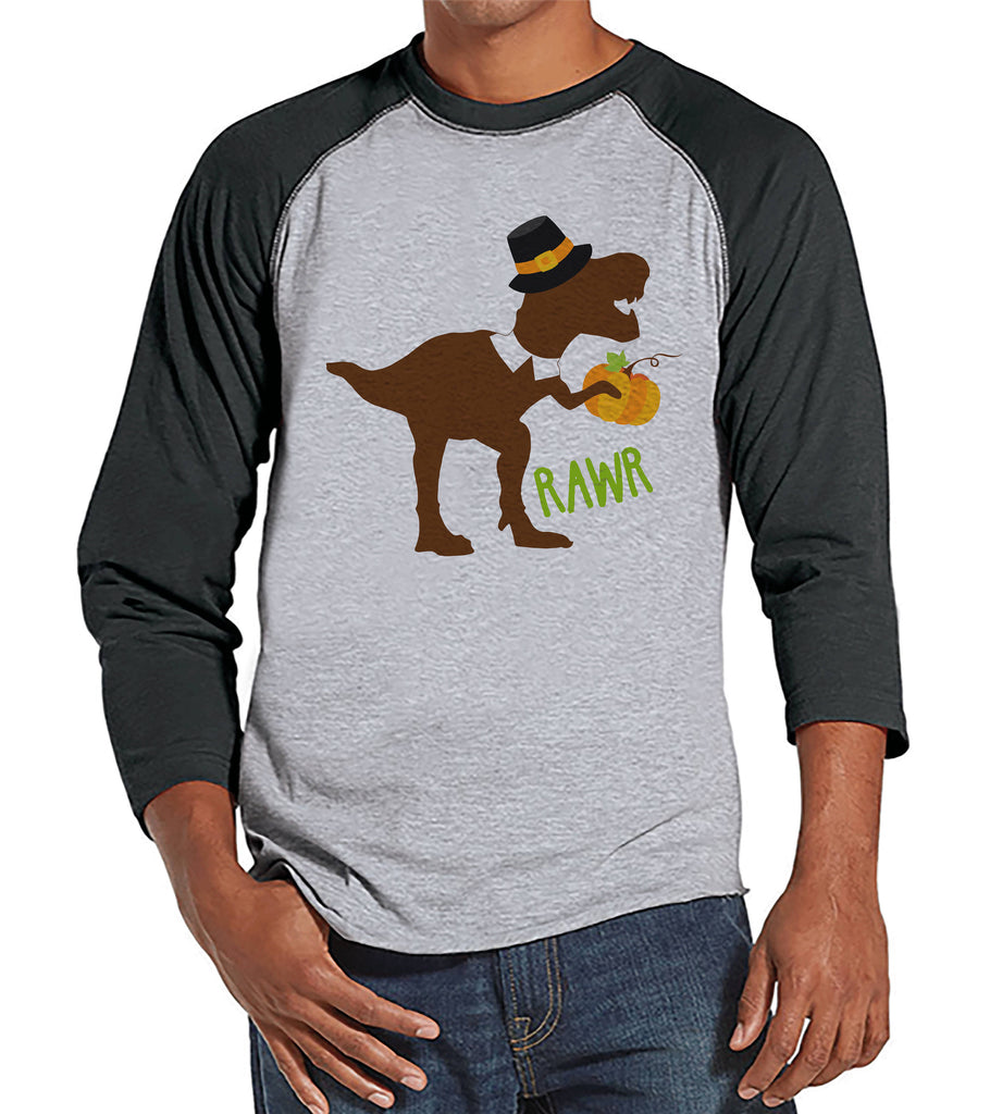 Funny Men's Thanksgiving Shirt - Dino Pilgrim Shirt - Men's Thanksgiving Dinosaur Happy Thanksgiving - Mens Grey Raglan - Pilgrim Dinosaur